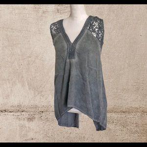 VENUS women's embroidery gray blouse